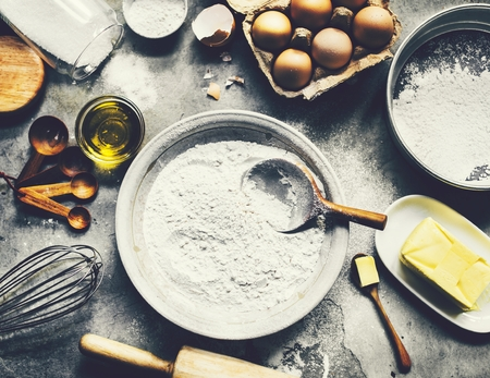 Baking ingredients on a table 스톡 콘텐츠