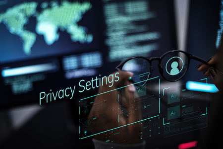Woman working with global networks and data protection Stock Photo