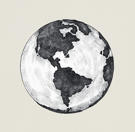 Hand-drawn globe illustration Stok Fotoğraf - 110465273