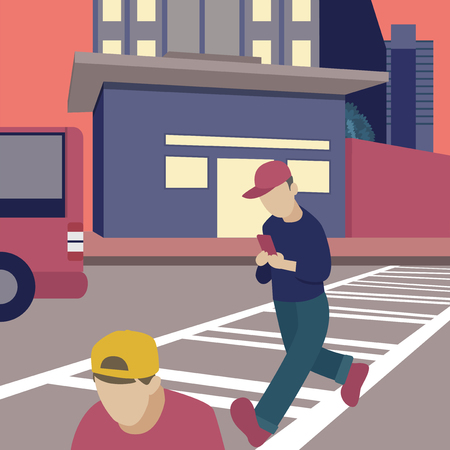 Man walking while on the phone illustration Banco de Imagens
