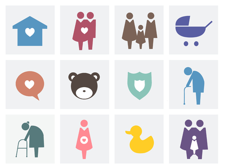 Collection of family icons pictogram illustration Фото со стока