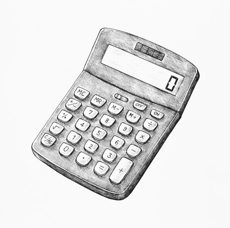 Hand-drawn digital calculator illustration