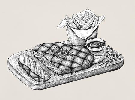 Schizzo di un set di bistecche