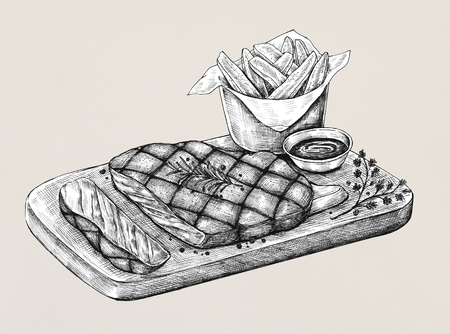 Sketch of a steak set Stock fotó