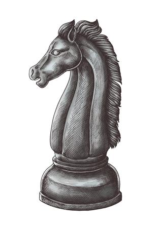 Hand-drawn chess knight illustration Banco de Imagens