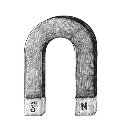 Hand-drawn horseshoe magnet illustration 写真素材