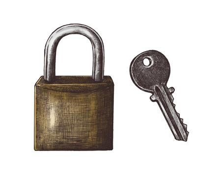 Hand-drawn lock and key illustration Stock Illustration - 110467248