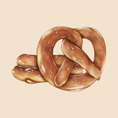 Versgebakken pretzels handgetekende illustratie