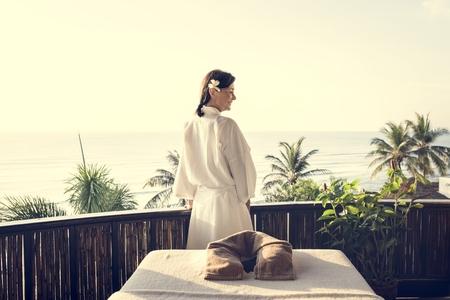 Woman at a beautiful spa
