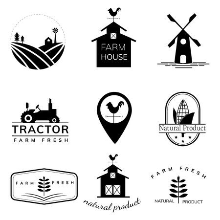 Collection of farming logo illustrations