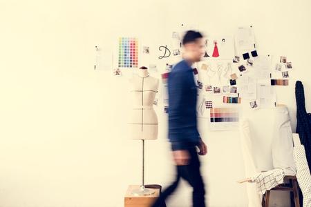 Blurred image of a man walking