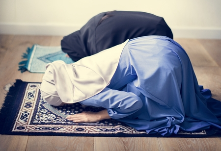 Muslim prayers in Sujud posture