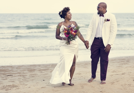African American couple's wedding day Banque d'images