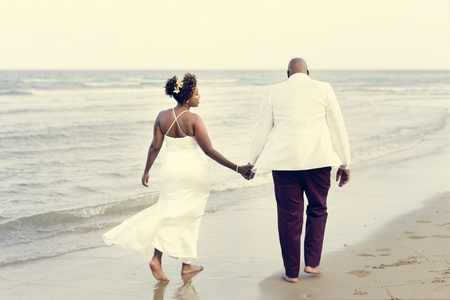African American couple getting married at an island Stock Photo