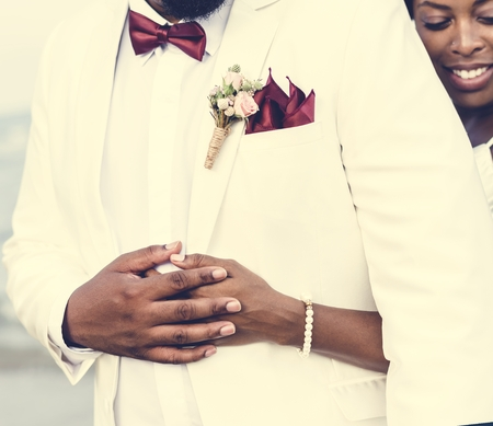African American couple getting married at an island Stok Fotoğraf