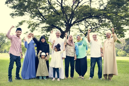 A happy large Muslim family Stock Photo - 110554310