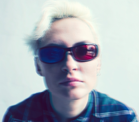 Blonde woman with 3D glasses