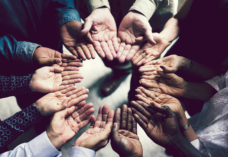 Group of diverse hands in a circle Banco de Imagens
