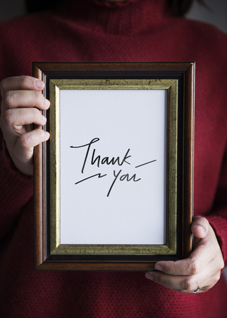 Phrase Thank you in a frame