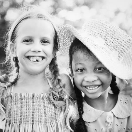 Diverse little girls happy together 版權商用圖片