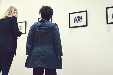 People at an art exhibition