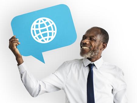 Happy man holding WWW symbol Stock Photo