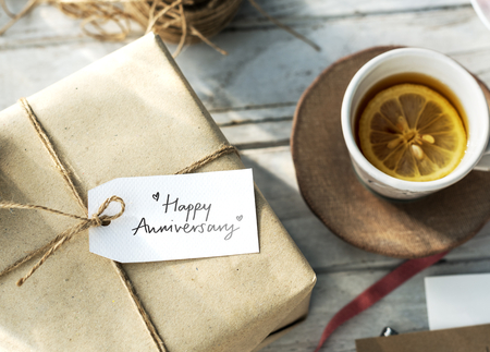 Happy Anniversary tag on a gift box