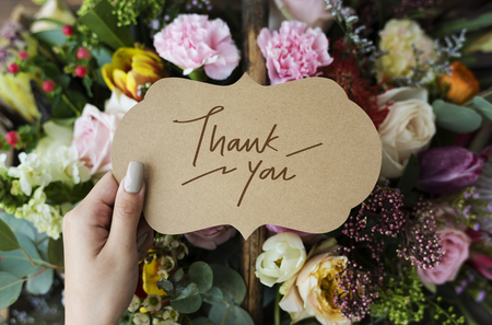 Thank You card with flowers Banco de Imagens