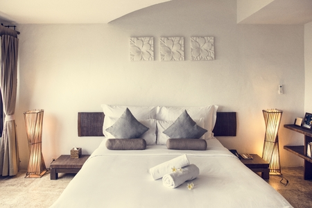 Hotel room at a luxury resort Stock Photo
