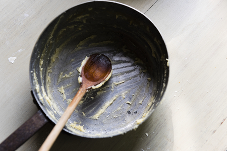 Dirty frying pan after cooking
