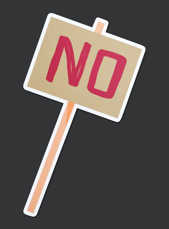 Word No on a protest sign Stock Photo