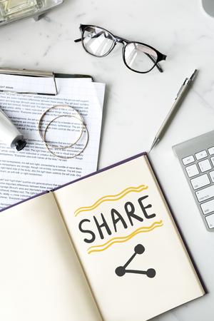 Share written on a notebook