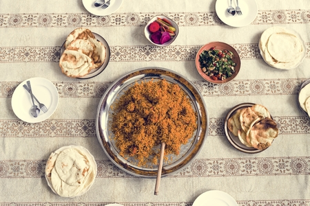 Top view of indian cuisine Stock Photo