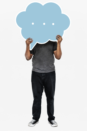 Man holding a blank speech bubble
