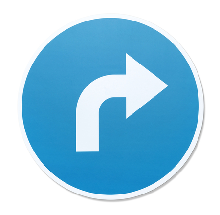 Turn right road sign illustration Stock Photo