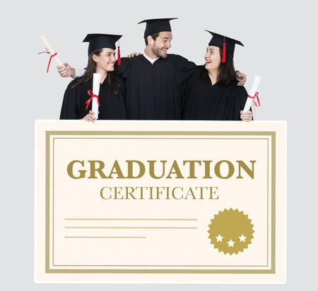 Group of grads in cap and gown with graduation certificate