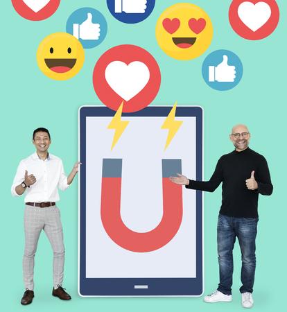 Digital marketing on a tablet Banco de Imagens
