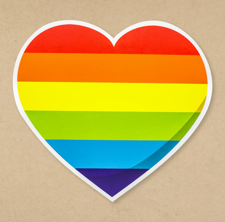 LGBT heart shaped rainbow icon isolated