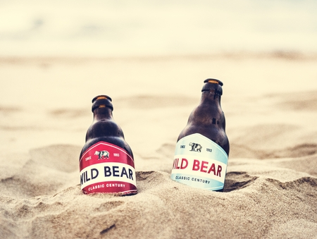 Two beer bottles buried in the sand Stock Photo
