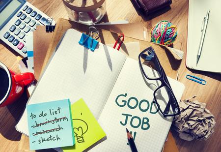 Good job written on a notebook Standard-Bild