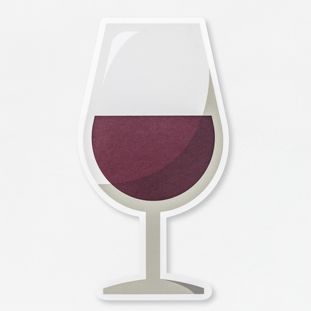 A glass of red wine icon isolated Фото со стока