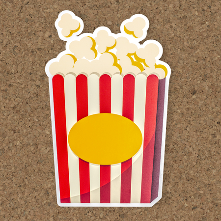 A bucket of popcorn icon illustration Banco de Imagens