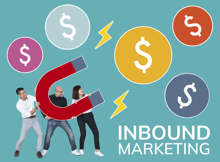 Team with inbound marketing icons