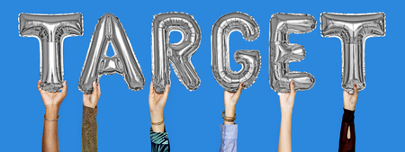 Gray silver alphabet helium balloons forming the text target