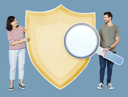 Couple with cyber security icons