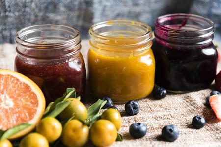 Variety of homemade jam in jars