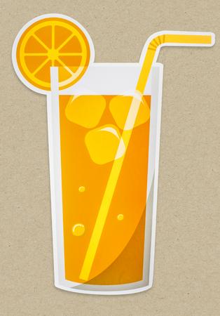 A glass of fresh orange juice icon isolated