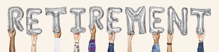 Silver gray alphabet balloons forming the word retirement Stock Photo - 110599964