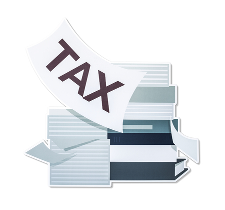 Stack of papers and tax concept illustration
