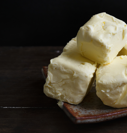 Cubes of butter on a plate